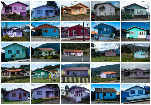 little colored wooden haouses od f santa catarina brasil